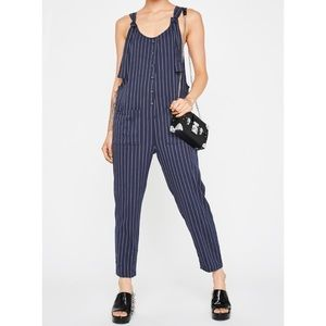 Blu Pepper Day to Day Blue Stripe Jumpsuit New